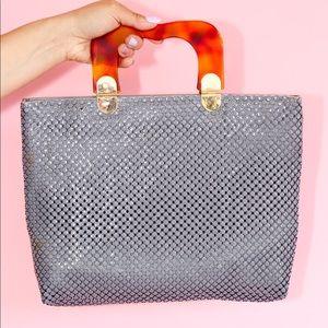 Vtg 60 Lucite Marble Handle Metallic Mesh Handbag